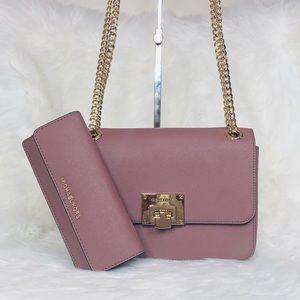 Michael Kors Tina MD Shoulder Flap Bag Wallet Set